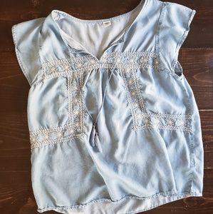 Womens Chambray Blouse with White Florals